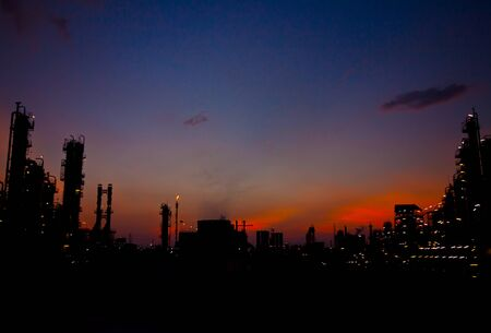 petrochemical plant  image at sun set photo