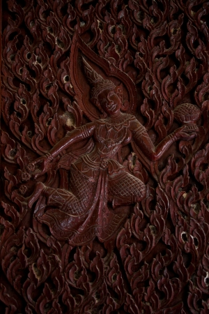 generality: Thai angle wood carving,generality in thailand,any kind of art decorated in buddhist church,temple pavillion temple hall etc they are public domain or treasure of buddhism,no restrict in coppy or use  Editorial