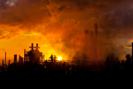 petrochemical plant: petrochemical plant in silhouette