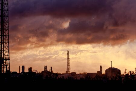 petrochemical plant: petrochemical plant in sunset Stock Photo
