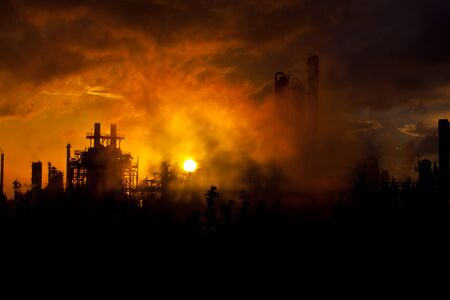 petrochemical plant: petrochemical plant in sunrise Stock Photo