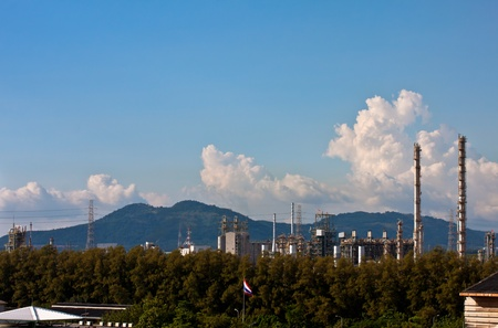 petrochemical plant in blue sky photo