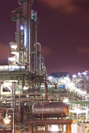 petrochemical plant in night time Standard-Bild