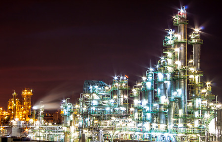 Light of petrochemical plant in night time