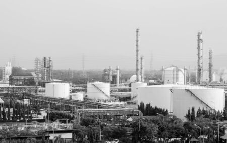 heavy industry: oil storage tank in petrochemical refinery industry plant in petroleum and heavy industrial plant