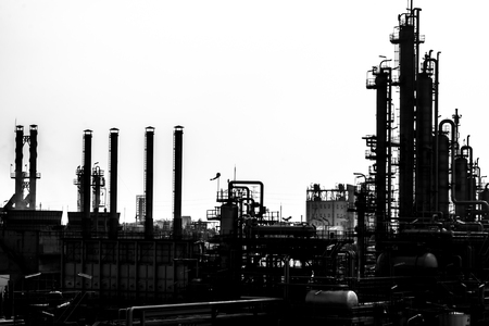petrochemical: petrochemical plant in silhouette image