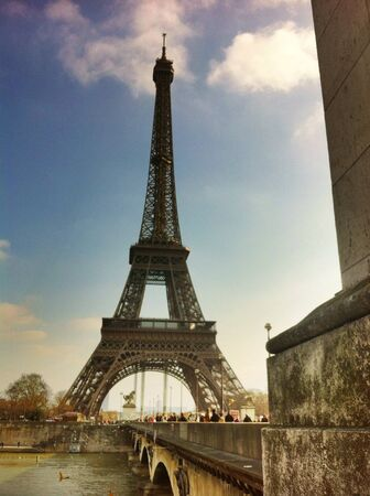 view: nice view of the eiffel tower with river seine paris france