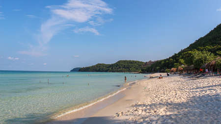 Beautiful white sandy Sao Beach on the tropical island of Phu Quoc, Vietnam, in late afternoon