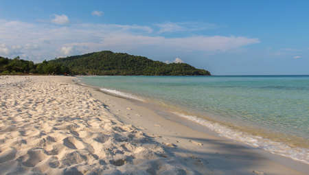 Late afternoon on a deserted island beach at Sao Beach, on the tropical island of Phu Quoc, Vietnam