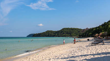 Sao Beach, with tropical blue waters and white sand beach, Phu Quoc, Vietnam