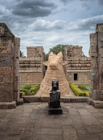 nandi: Huge Nandi the bull at the entrance of Shiva temple Stock Photo