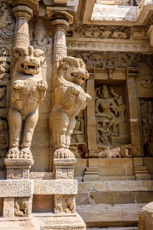 tamil nadu: Lion statue pillars in Hindu temple, Tamil Nadu, India
