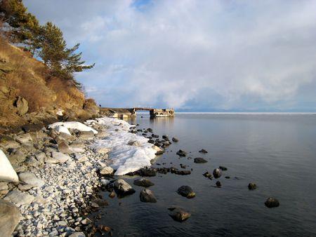 Baikal in spring photo