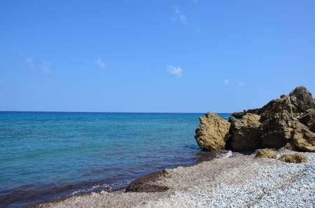 The coast of Cyprus island. Mediterranean sea shore. Nature