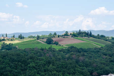 Impressive spring landscape, view with agriculture fields and trees ,Tuscany,Italy