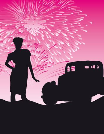 fire works: Retro girl with beautiful old car!