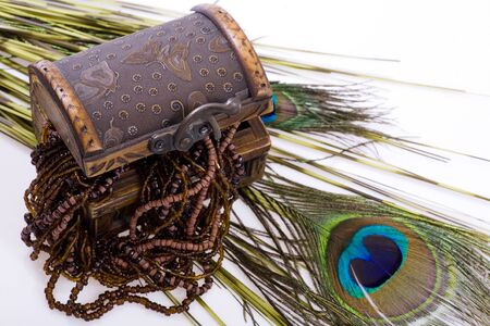 Overflowing Treasure Chest - jewellery, peacock feather in white. photo