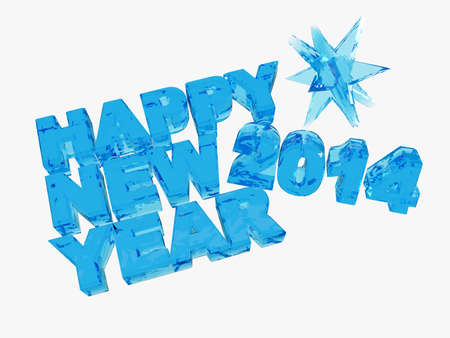 Happy new year 2014  writing letters transparent blue photo