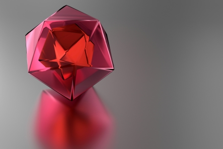 smooth surface: red prism on a smooth surface Stock Photo