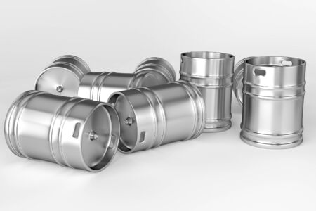 Several beer kegs on white background Stock Photo