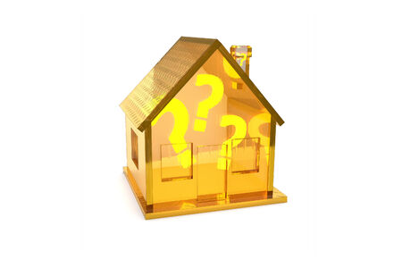 Transparent golden house with questions inside photo