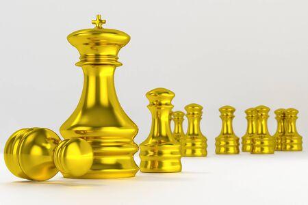 chessmen: Golden chessmen Isolated on White