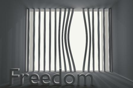 prison facility: bent prison bars and the inscription freedom Stock Photo
