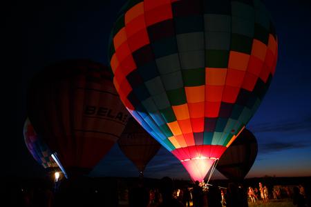 adventure aeronautical: PERESLAVL-ZALESSKY, RUSSIA - 16 JULY 2016: 15-th Hot air balloons festival in Pereslavl-Zalessky, Yaroslavl Oblast. Night flying in 16 july 2016.