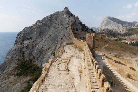 impregnable: Russia. Crimea. Sudak. Genoese fortress on mountain ridge. 14.09.2016