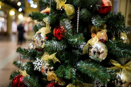 adorned: Adorned festive New Year tree in store