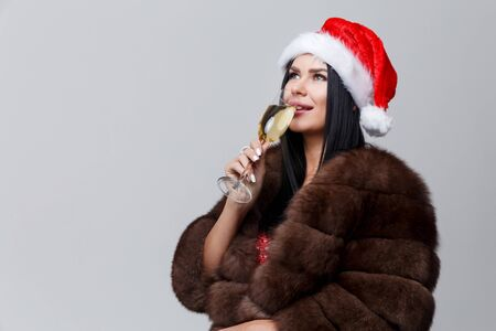 manteau de fourrure: Christmas photo of woman in fur coat and wine