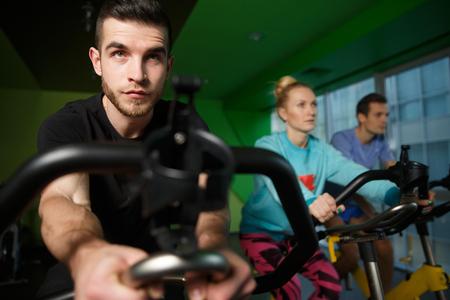 simulators: Young athletes practiced on simulators