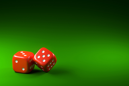 Two dice on green background Stock Photo