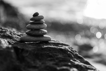 equilibrium: Black-and-white photo of sea pebbles Stock Photo