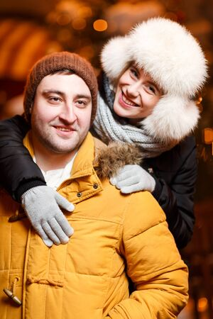 couple winter: Loving couple on winter walk