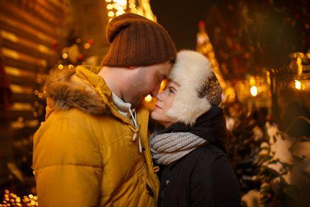 couple winter: Winter walk in love couple