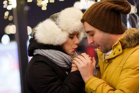 couple winter: Loving couple walks on winter