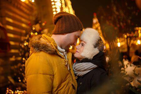 couple winter: Winter walk of happy couple