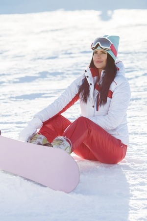 Winter picture of sports brunette Stock Photo