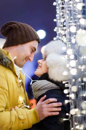 couple winter: Romantic couple on winter walk
