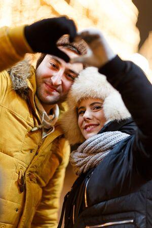 couple winter: Winter photo of happy couple Stock Photo