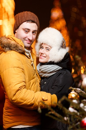 couple winter: Loving couple embracing on winter