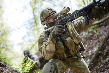 Photo of one sighted soldier Stock Photo