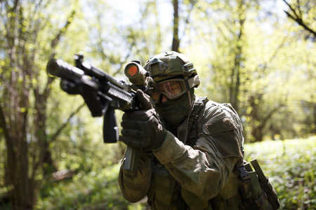 Russian soldier with on combat mission