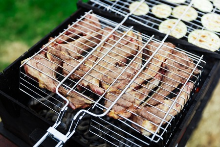 Barbecue meat and fresh vegetables