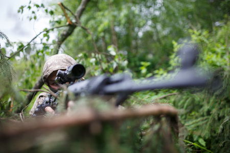Photo of one airsoft players Stock Photo