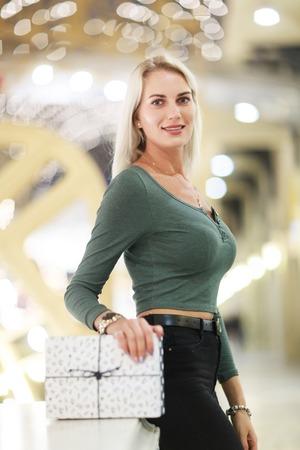 Image of beautiful woman with gift box Stock Photo