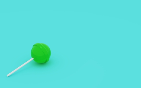 Lollipop green colour. 3d rendering