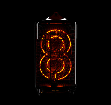Nixie tube indicator. The number eight of retro. 3d render.