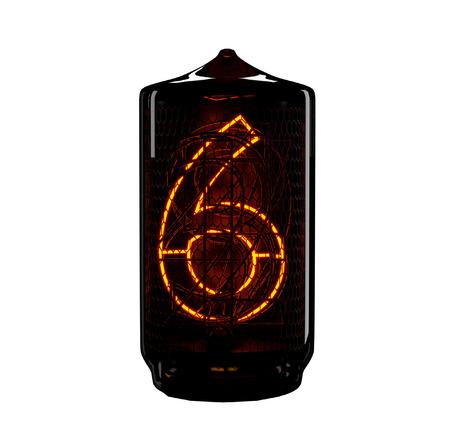 Nixie tube indicator. The number six of retro. 3d render. Archivio Fotografico